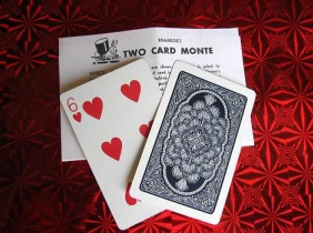 Two card monte magic trick